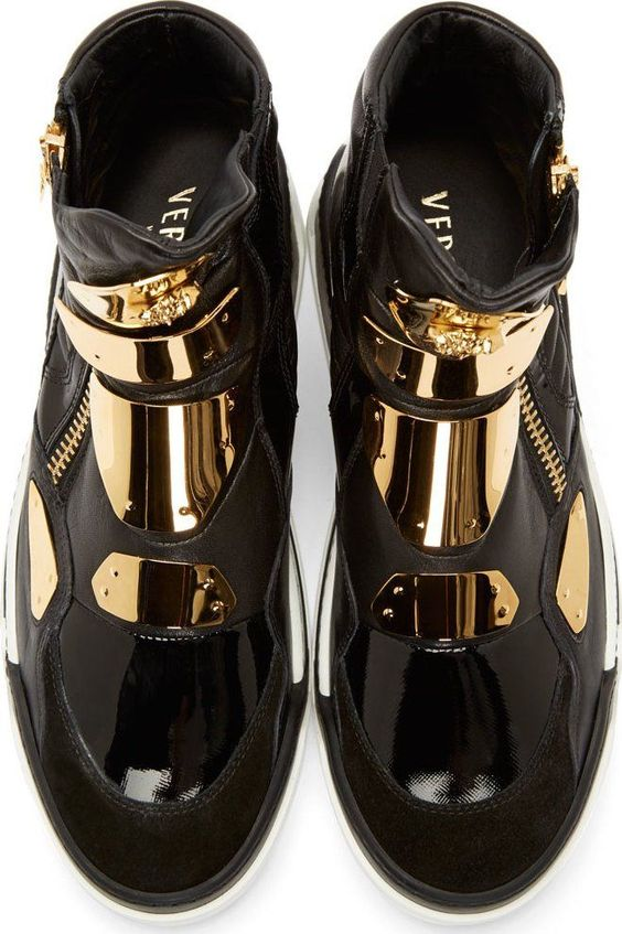 Versace Black Leather Gold-Plated Sneakers