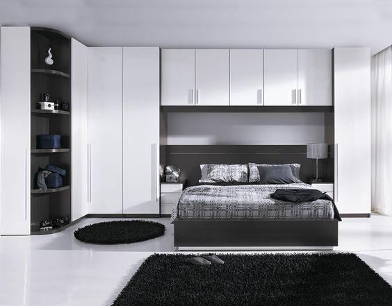 Dormitorio de matrimonio acabado en melamina color ceniza for Catalogo de camas de matrimonio