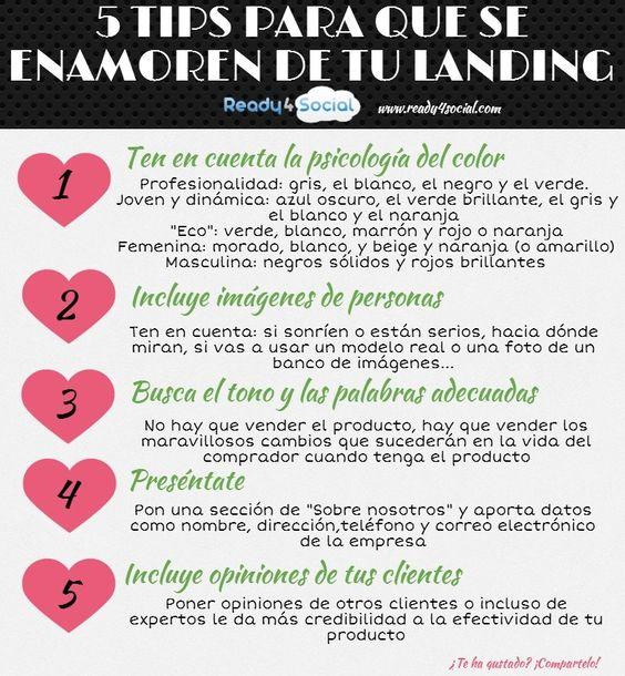 5 trucos para que se enamoren de tu Landing Page #infografia #infographic #marketing vía: http://www.ready4social.com