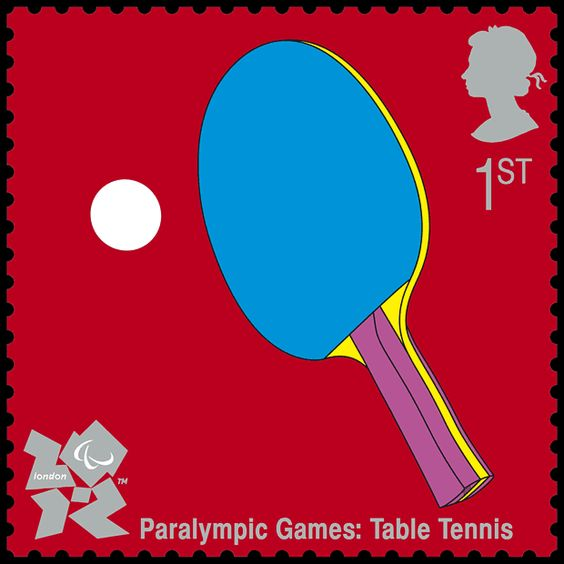 Paralympic Games: Table Tennis [Stamp]  Illustrated by Michael Craig Martin