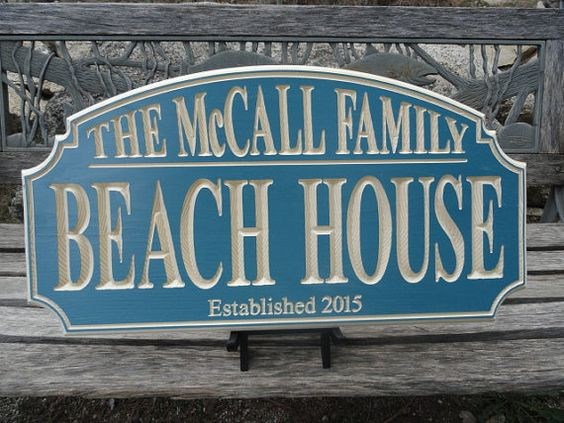 Beach House Carved Wood Sign ROUTED Border by ElkCanyonSignShop