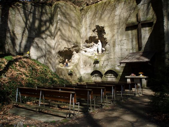 Cave for praying to holy mary. Switzerland  faith