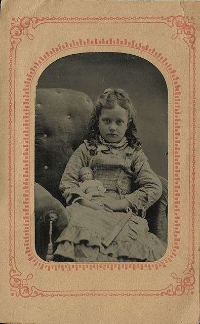 Girl with Doll and Fan - Tintype in a Paper Mat by Photo_History - Here but not Happy, via Flickr