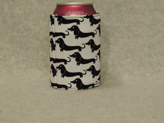 Dachshund Can Water Bottle Cozy Koozie by favorite4paws on Etsy, $2.00.   I want one!