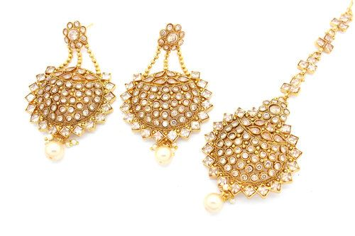 7Line Gold//Silver Plated kundan Fashion Jewelery Long Necklace Set Earring Tikka