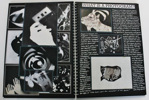 A2 Photography, A3 Black Sketchbook, Photogram, CSWK Theme 'Flaws, Perfections, Ideals and Compromises', Thomas Rotherham College, 2015-16