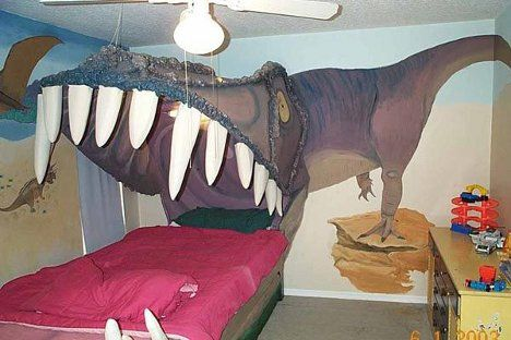 Sleeping in the jaws of a T-Rex.  Woah.