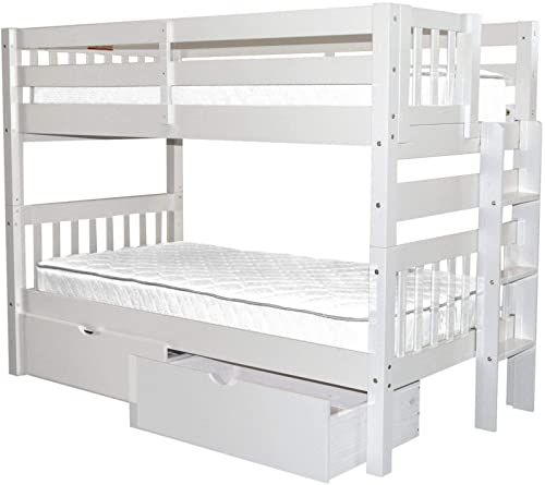 The Bedz King Bunk Beds Twin Over Twin Mission Style End Ladder 2 Under Bed Drawers White Online Shopping Toplikestore In 2020 Under Bed Drawers Bed With Drawers Bunk Beds