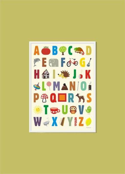 Liebevoll entworfenes ABC Poster.    Jedem Buchstaben wird, übersichtlich angeordnet, ein bekanntes Tier oder ein bekannter Gegenstand zugeordnet.