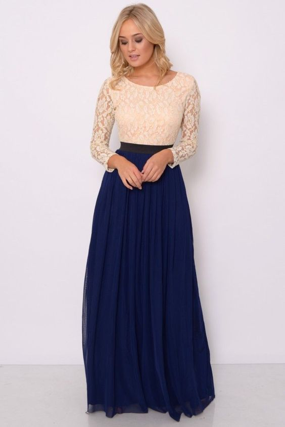 Nude and Navy Lace Long Sleeve Maxi | Rare London
