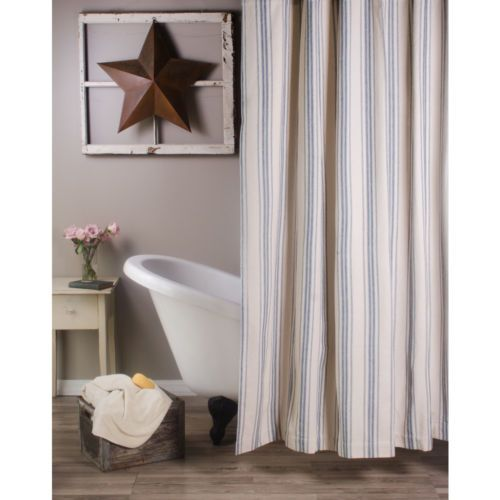 New French Country Farmhouse Colonial Blue Stripe Grain Feed Sack Shower Curtain Ebay Farmhouse Shower Striped Shower Curtains Blue Shower Curtains