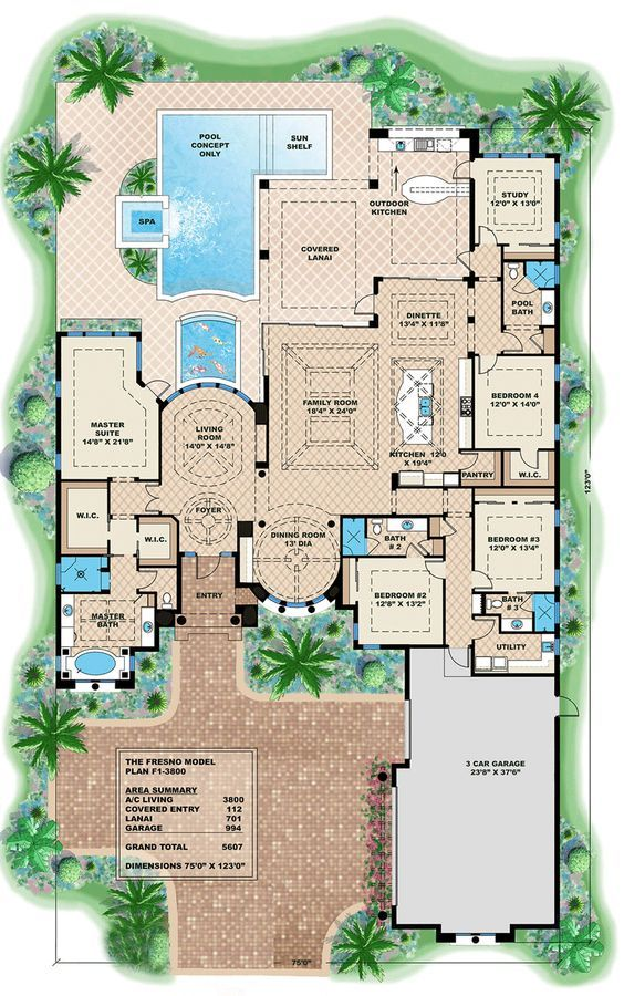 House Plan 1018 00202 Mediterranean Plan 3 800 Square Feet 4 5 Bedrooms 4 Bathrooms Mediterranean Style House Plans Luxury House Plans Beach House Flooring