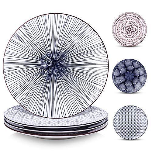 Y Yhy 10 Inch Porcelain Dinner Plates Large Serving Plate Set Assorted Blue White Patterns Set Of 4 All4hiking Com In 2020 Dinner Plates Plate Sets Blue Dinner Plates