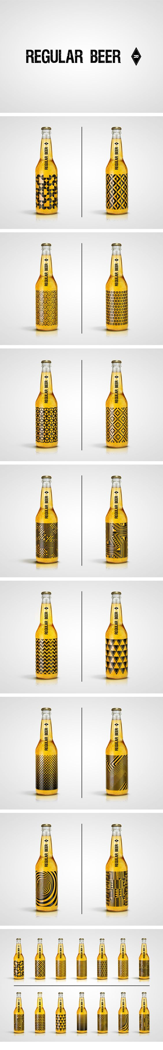 "Regular Beer tries to be ""normal"" so that it could be paired with a bold pattern. Even the thickness of the lines though shows a lot about the drink, that its meant to be hard."