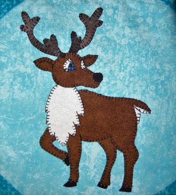 (7) Name: 'Quilting : Baby Caribou or Reindeer Applique Block