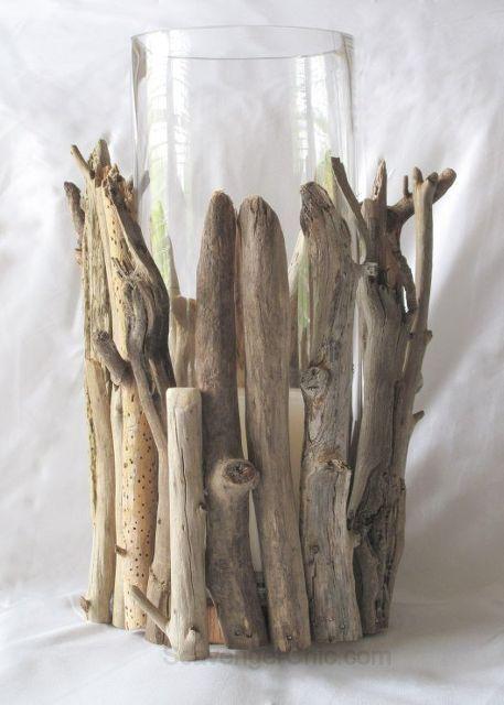 driftwood hurricane lamp diy, diy, home decor, lighting