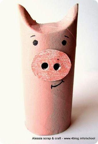 Lavoretti, zoo con i tubi di cartone: il maialino  zvířata ...