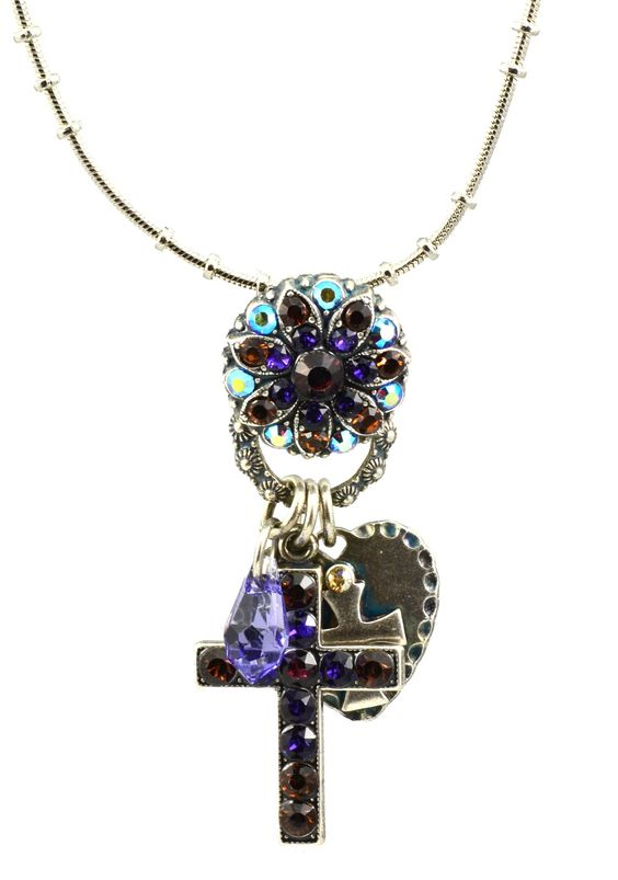"Faith"" Silver Plated Swarovski Crystal Cross Charm Necklace, 20+4"