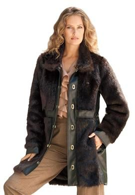 Faux Fur and Leather Coat, Sizes 14-34W