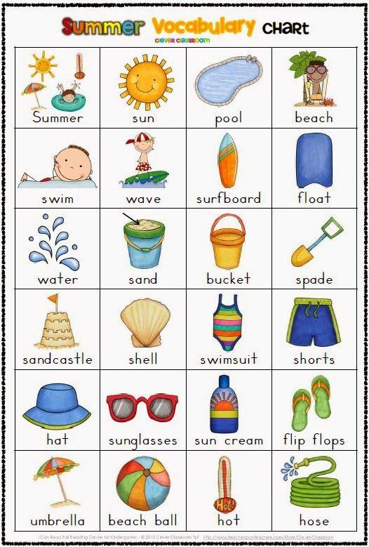 Resultado de imagen de vocabulary of summer