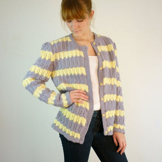 Vintage Cardigan / Yellow and Gray Striped by jessjamesjake, $32.00