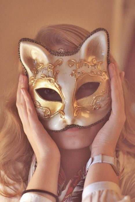 Masquerade gilded cat mask