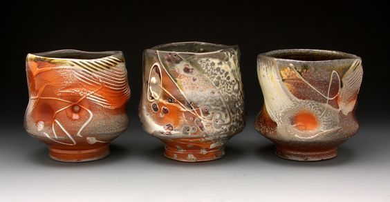 Leopard Spot Shino tea cups by Tom Coleman 2012