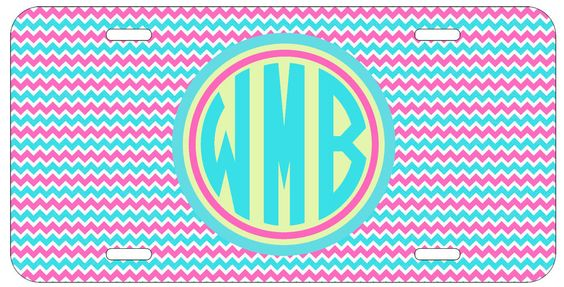Personalized Monogrammed Chevron Blue Pink License Plate Custom Car Tag L342