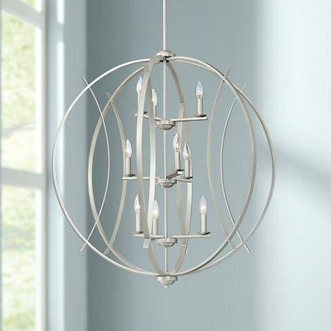 Spherical 32 3 4 W Brushed Nickel 9 Light Pendant 45n01 Lamps Plus Pendant Lighting Pendant Lamp Living Room Pendant Ceiling Lamp
