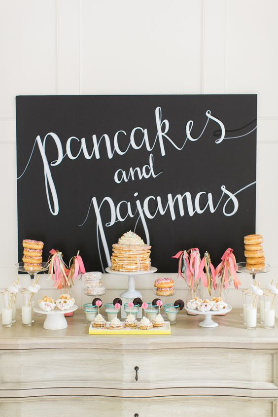Pancakes and pajamas party! Photography : Ruth Eileen Photography Read More on SMP: http://www.stylemepretty.com/living/2016/09/01/pancakes-and-pajamas-a-k-a-the-best-sleepover-party-idea-ever/