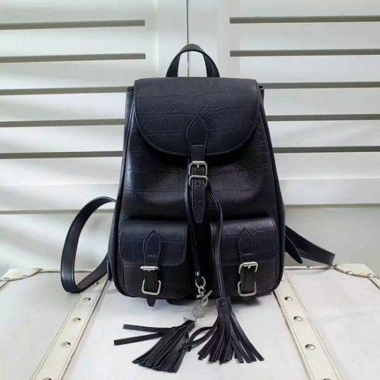 $329.99   Latest Saint Laurent Small Festival Backpack in Black Crocodile Embossed Leather