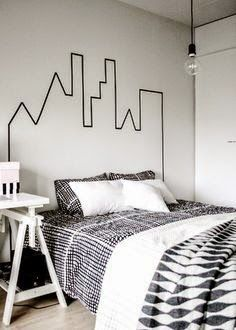Nest & Mortar: Skyline Headboard Made With Washi Tape