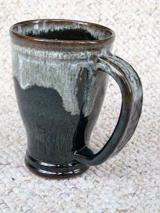 "Stoneware mug by Shelley Duncan, glaze combination is called ""Licorice Latte"""