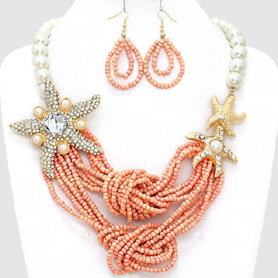 Chunky Crystal  Gold Starfish Peach Seed Bead Pearl Necklace #Unbranded #BibCollar