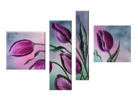Roze en paarse tulpen