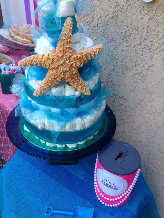 starfish baby diaper cake for the little mermaid baby shower under the