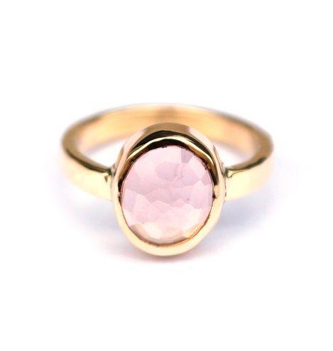 Gouden ring met rozekwarts