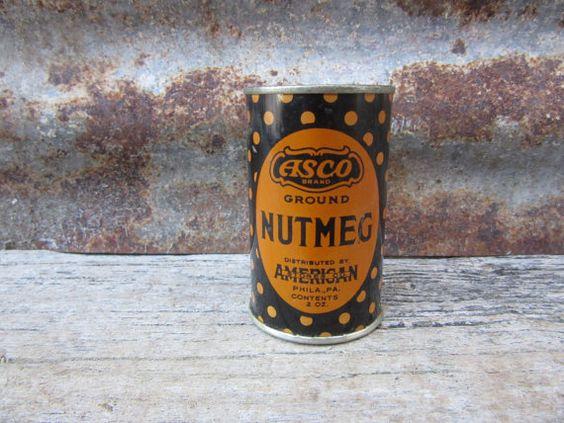Vintage Tin ASCO Nutmeg Black and Gold Polka by TheOldTimeJunkShop