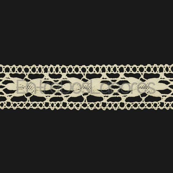 Entredós de encaje de bolillos de algodón mercerizado de 3 cm. (Disponible en 2 colores)
