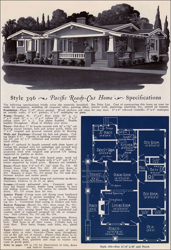 Design no 396 from pacific 39 s book of homes pacific for 1925 bungalow floor plan