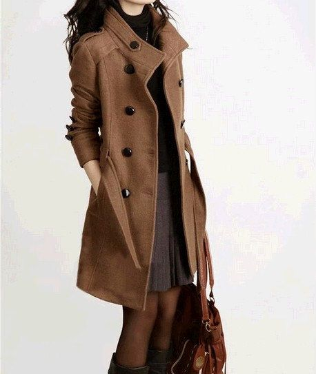 women's long Cashmere Coat Double Breasted Fitted Wool Coat jacket ...