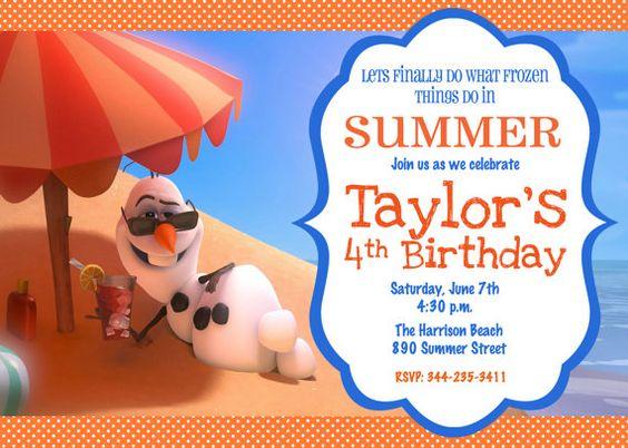 Frozen Movie Olaf Summer Snowman Beach Pool Birthday Party Invitation Digital File on Etsy, $7.99