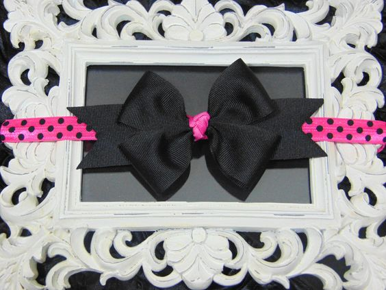 3.5 inch Black and Hot pink Boutique style Headband by LittleLuxeApparel on Etsy