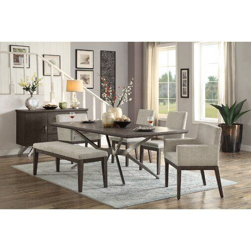 Foundry Select Penelope 6 Piece Dining Set Wayfair Dining Room Sets Dining Set With Bench Dining Table Setting