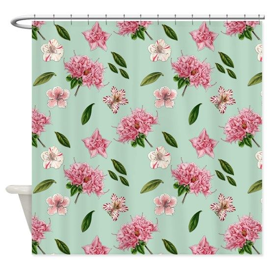 vintage pink flowers mint green shower
