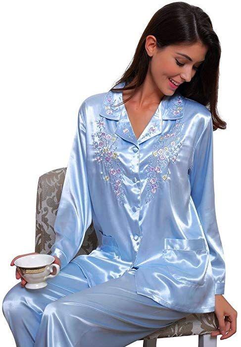 sells latest discount temperament shoes Womens Silk Satin Pajamas Set Sleepwear Loungewear PalePink ...