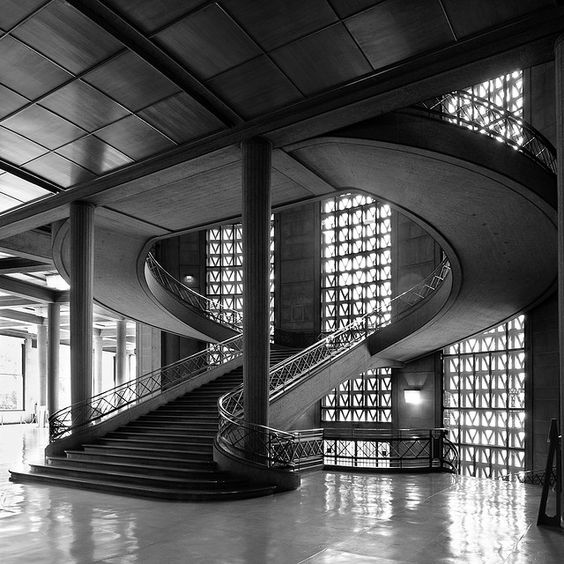 The beautiful classical concrete staircase of the former for Perret architecte