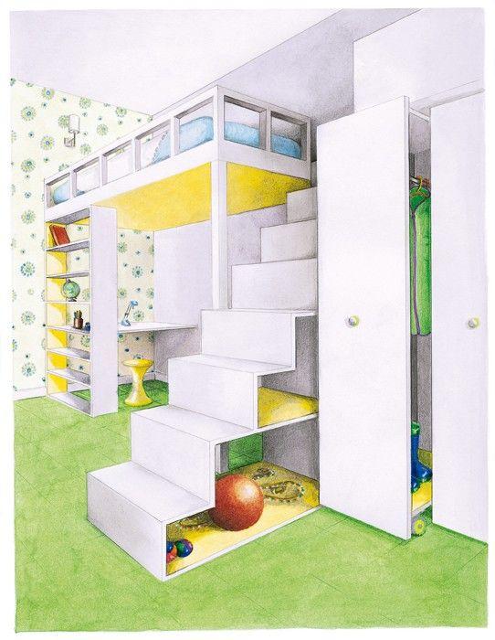 une chambre de 12 m2 avec mezzanine - Chambre Avec Mezzanine