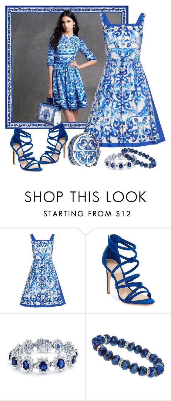 """Majolica Blue"" by lorrainekeenan ❤ liked on Polyvore featuring moda, Dolce&Gabbana, Schutz, Bling Jewelry e Wallis"