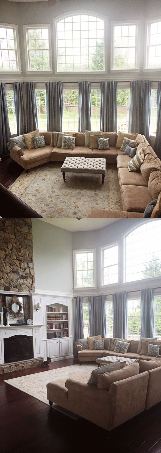 Best window treatment for a wall of windows with windows on top of it, makes room seem cozy despite all the windows that tend to draw the eye everywhere.